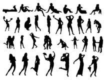 många folk silhouettes litet vektor illustrationer