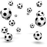 Många fotbollbollar Arkivfoto
