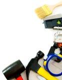 Många funktionsdugliga hjälpmedel - häftapparat, plattång och andra på Royaltyfri Bild