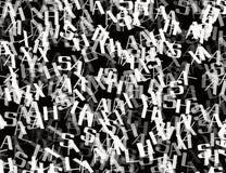 Många gör sammandrag kaotiska gråa alfabetbokstäver Royaltyfri Fotografi