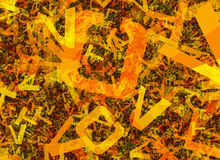 Många gör sammandrag kaotiska orange alfabetbokstäver Royaltyfri Bild