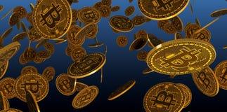 Många guld- bitcoins som lägger på reflekterande yttersida, tolkning 3d stock illustrationer