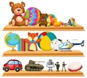 Många gulliga leksaker på trähyllor royaltyfri illustrationer