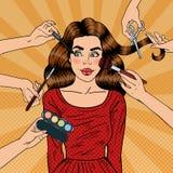 Många händer som gör glamoursminket för ung kvinna Popkonst stock illustrationer