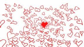 Många hör röd hjärta i Shape av stort lager videofilmer