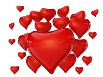många hjärtor röd reflexion Arkivbild