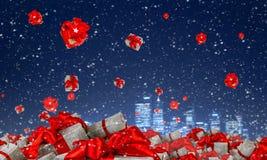 Många julpackar Blandat massmedia Arkivfoto