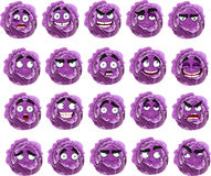 många kåltecknad filmuttryck purpurt leende Royaltyfri Bild