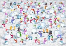 Många kall snö varm snö royaltyfri illustrationer