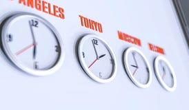 Många klockor på den vita illustrationen för vägg 3d Royaltyfria Foton