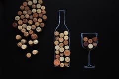 Många korkar rubber vin bakgrund fotografering för bildbyråer