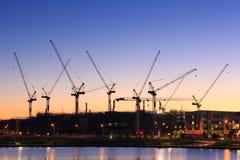 Många kranar på den australiska konstruktionsplatsen arkivfoto