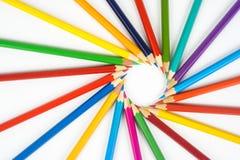 Många kulöra blyertspennor Arkivfoto