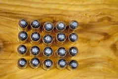 Många kulor för 45 kaliber mönstrar Arkivbilder