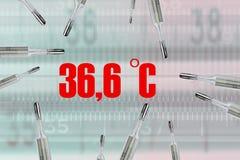 Många kvicksilvertermometrar och bodystemperatur stock illustrationer