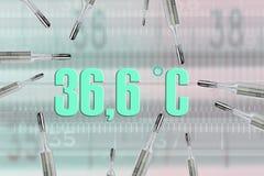 Många kvicksilvertermometrar och bodystemperatur vektor illustrationer
