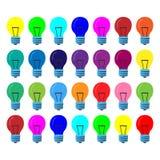 Många lampor av det samma formatet i olika färger Tecknad filmvektor royaltyfri foto