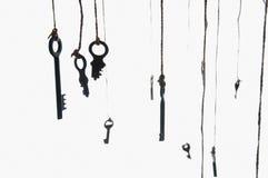 Många lantliga tangenter som hänger på rad Selektivt fokusera isolerat Arkivbild