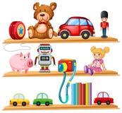Många leksaker och böcker på trähyllor royaltyfri illustrationer