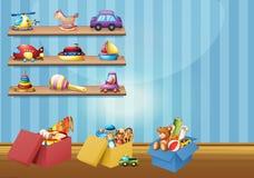 Många leksaker på hyllorna och golvet Royaltyfri Bild