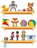 Många leksaker på trähyllor vektor illustrationer