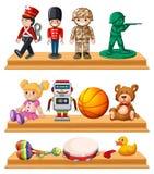 Många leksaker på trähyllor royaltyfri illustrationer