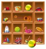 Många leksaker på trähyllor Royaltyfri Foto