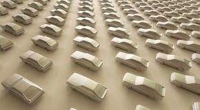 Många leksakmodeller av bilar på vit bakgrund Aktivt liv i upptaget stadsbegrepp Arkivbilder