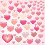 många lyckliga hjärtor pink Arkivbild