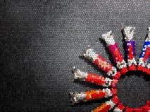 Många mångfärgade rör med vattenfärger vektor illustrationer