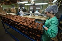 Många massiv produktion för söt kakamatfabrik Arkivfoto