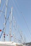 Många masts mot skyen Arkivbild