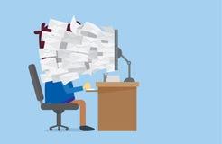 Många mejl ut ur datorskärmen till arbetarframsidan Arkivbild