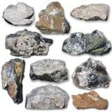 Många mineraler på en vit bakgrund Fotografering för Bildbyråer