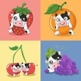 Många mjölkar frukt den mycket gulliga mejerikon stock illustrationer