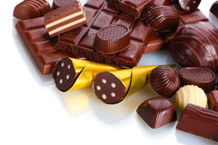 Många olik chokladgodis Royaltyfria Bilder