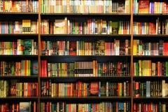 Många olika böcker på träbokhyllor Royaltyfri Fotografi