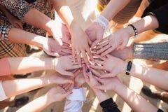Många olika kvinnlighänder med guld- cirklar på fingrar och without Arkivbilder