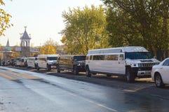 Många olika limousine Arkivfoto