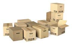 Många olika moving askar Arkivfoto