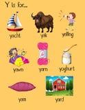 Många ord börjar med bokstav Y vektor illustrationer