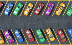 Många parkerade bilar Royaltyfria Bilder