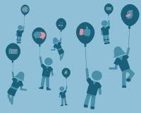 Många personer kan förbinda med det sociala nätverket Arkivfoton