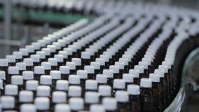 Många plast-flaskor som är rörande på transportör arkivfilmer