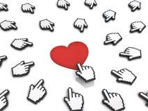 Många räcker markörmusen som klickar den röda hjärtaknappen eller sammanlänkning royaltyfri illustrationer