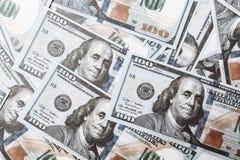 Många räkningar av 100 dollar, amerikansk sedel, bakgrund av pengar, kontant valutanärbild, framsidan för president` s Royaltyfri Bild