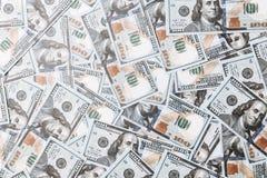 Många räkningar av 100 dollar, amerikansk sedel, bakgrund av pengar, kontant valutanärbild, framsidan för president` s Royaltyfri Fotografi