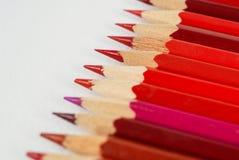 Många röda blyertspennor Royaltyfri Foto