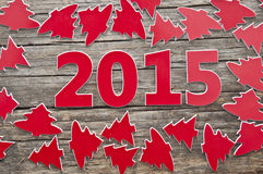 Många röda julträd som bakgrund Royaltyfria Bilder
