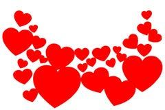 Många röda pappers- hjärtor i form av en båge Rundad dekorativ ram på vit bakgrund med kopieringsutrymme Symbol av förälskelse fotografering för bildbyråer
